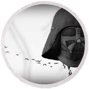 Round Beach Towel featuring the photograph Darth And His Flock by AJ Schibig