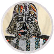 Round Beach Towel featuring the tapestry - textile Darth Vader Star Wars Afrofuturist Collection by Apanaki Temitayo M