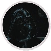 Round Beach Towel featuring the drawing Darth Vader Study by Meagan  Visser