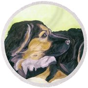 Round Beach Towel featuring the painting Date With Paint Sept 18 1 by Ania Milo