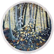 Round Beach Towel featuring the painting Natures Dance by Joanne Smoley