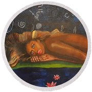 Daughter Of The Cosmos Round Beach Towel