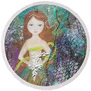 Round Beach Towel featuring the mixed media Daughter Of The Sea by Virginia Coyle