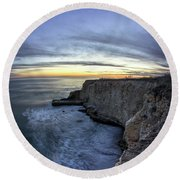 Davenport Bluffs At Sunset Round Beach Towel