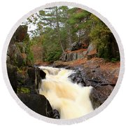 Dave's Falls #7277 Round Beach Towel by Mark J Seefeldt