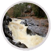 Dave's Falls #7284 Round Beach Towel