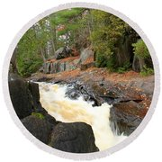 Dave's Falls #7311 Round Beach Towel by Mark J Seefeldt