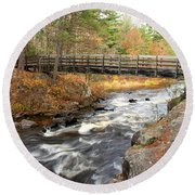 Dave's Falls #7480 Round Beach Towel by Mark J Seefeldt