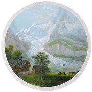 David Alois Schmid , The Upper Grindelwald Glacier Round Beach Towel