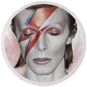 David Bowie Artwork 1 Round Beach Towel