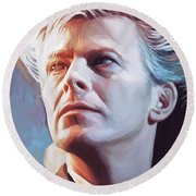 Round Beach Towel featuring the painting David Bowie Artwork 2 by Sheraz A
