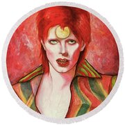 David Bowie Forever Round Beach Towel