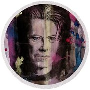 Round Beach Towel featuring the painting David Bowie by Geni Gorani