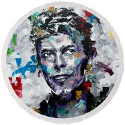Round Beach Towel featuring the painting David Bowie II by Richard Day