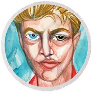 David Bowie In Red Shirt Round Beach Towel