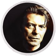David Bowie In The Shadows Round Beach Towel