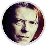 Round Beach Towel featuring the digital art David Bowie by John Haldane