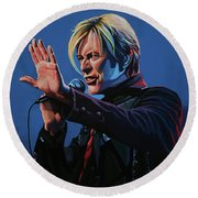 David Bowie Live Painting Round Beach Towel