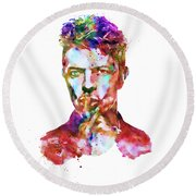 Round Beach Towel featuring the mixed media David Bowie  by Marian Voicu