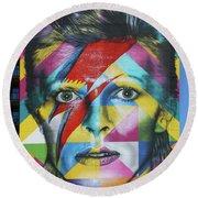 David Bowie Mural # 3 Round Beach Towel
