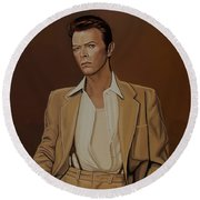 David Bowie Four Ever Round Beach Towel by Paul Meijering