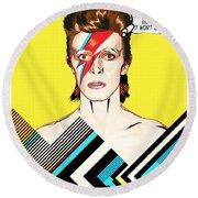 David Bowie Pop Art Round Beach Towel