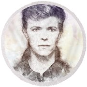 David Bowie Portrait 01 Round Beach Towel