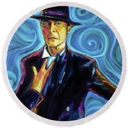Round Beach Towel featuring the painting David Bowie by Robert Phelps