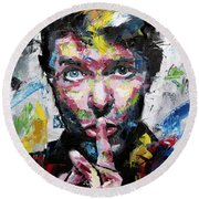 David Bowie Shh Round Beach Towel