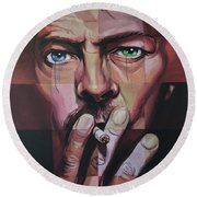 David Bowie Round Beach Towel by Steve Hunter