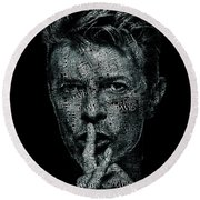 David Bowie Text Portrait - Typographic Face Poster Created With All The Album Titles By David Bowie Round Beach Towel
