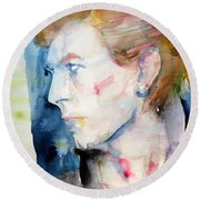 David Bowie - Watercolor Portrait.12 Round Beach Towel