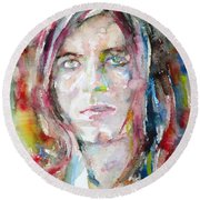 David Bowie - Watercolor Portrait.13 Round Beach Towel