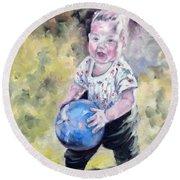 David With His Blue Ball Round Beach Towel