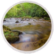 Davidson River In Pisgah National Forest Round Beach Towel