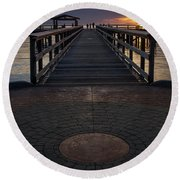 Davis Bay Pier Evening Light Round Beach Towel