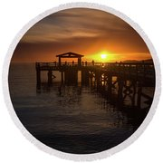 Davis Bay Pier Sunset 2 Round Beach Towel