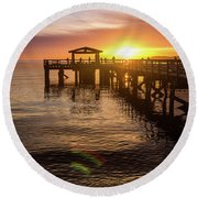 Davis Bay Pier Sunset 4 Round Beach Towel