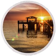 Davis Bay Pier Sunset 5 Round Beach Towel