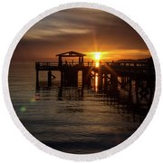 Davis Bay Pier Sunset Round Beach Towel
