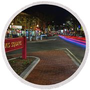 Davis Square Sign Somerville Ma Mikes Round Beach Towel