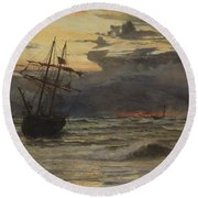 Dawn After The Storm Round Beach Towel