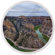 Dawn At Devils Overlook Bighorn Canyon Round Beach Towel