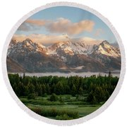 Dawn At Grand Teton National Park Round Beach Towel by Brian Harig