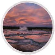 Dawn At Great Fountain Geyser Round Beach Towel