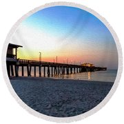 Dawn At Gulf Shores Pier Al Seascape 1283a Digital Painting Round Beach Towel