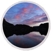 Round Beach Towel featuring the photograph Dawn At Lake Billy Chinook by Cat Connor