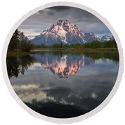 Dawn At Oxbow Bend Round Beach Towel