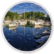 Dawn At Perkins Cove - Maine Round Beach Towel
