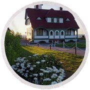 Dawn At Portland Head Light, Cape Elizabeth, Maine  -08614 Round Beach Towel